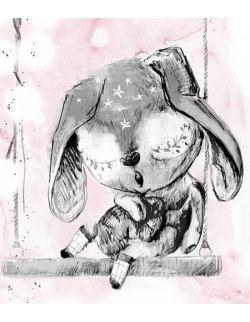 Lussi śpiący króliczek do pokoju dziewczynki, plakat dla córki, ilustracja do pokoju dziecięcego
