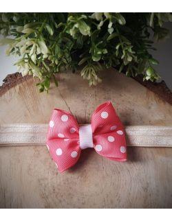 Opaska Kokardka Pojedyncza Różowa w Białe Kropki na Beżowej Gumce