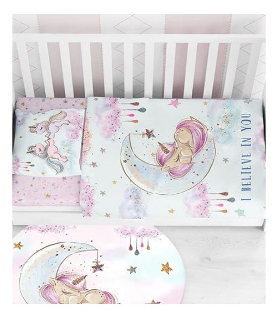 Pościel Baby Dekor Jednorożec - 75 cm x 100 cm - 100% bawełna Premium
