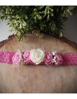 Opaska Wianuszek Różowe i Biała Róża na Różowej Gumce