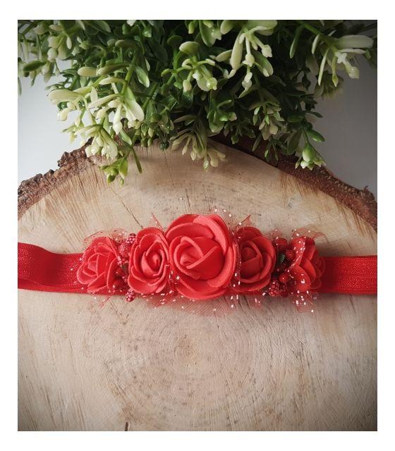 Opaska Wianuszek Czerwone Róże na Czerwonej Gumce
