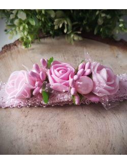 Opaska Wianuszek Różowe Róże na Różowej Gumce