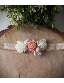Opaska Wianuszek Ecru i Łososiowe Róże na Beżowej Gumce