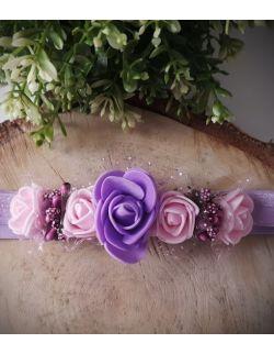 Opaska Wianuszek Różowe i Fioletowa Róża na Fioletowej Gumce