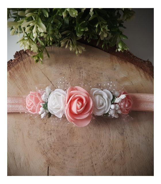 Opaska Wianuszek Białe i Łososiowe Róże na Łososiowej Gumce