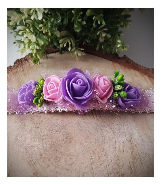 Opaska Wianuszek Różowe i Fioletowe Róże na Różowej Gumce