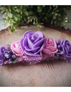 Opaska Wianuszek Różowe i Fioletowe Róże na Fioletowej Gumce