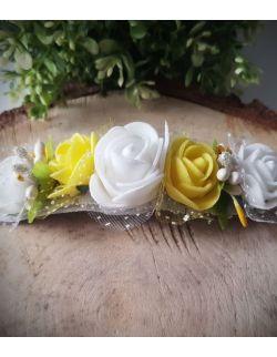 Opaska Wianuszek Żółte i Białe Róże na Srebrnej Gumce