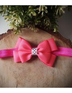 Opaska Kokardka Podwójna Neonowo Różowa na Różowej Gumce