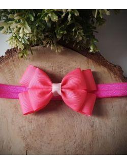 Opaska Kokardka Podwójna Różowa na Różowej Gumce