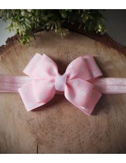 Opaska Kokardka Podwójna Różowa W Białe Groszki na Różowej Gumce