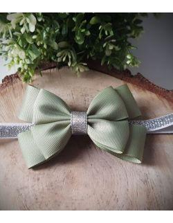Opaska Kokardka Podwójna Zielona Khaki na Srebrnej Gumce