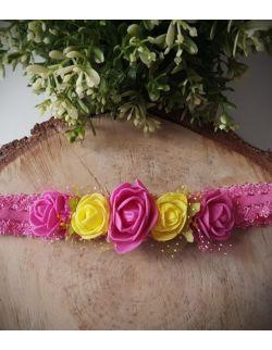 Opaska Wianuszek Różowe i Żółte Róże na Różowej Gumce