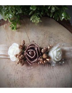 Opaska Wianuszek Brązowe i Ecru Róże na Beżowej Gumce