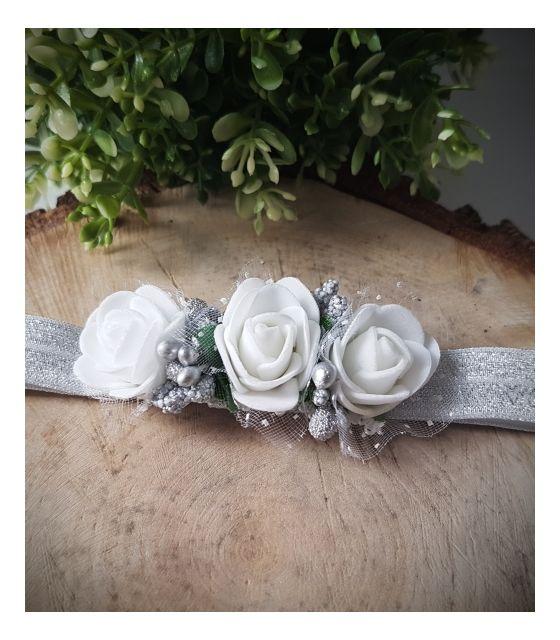 Opaska Wianuszek Białe Róże na Srebrnej Gumce
