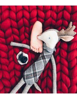 Skandynawski koc z wełny owczej 50 cm x 100 cm