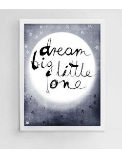 plakat do pokoju dziecka, ilustracja dla dzieci, księżyc, noc, obrazek z napisem, granatowy, gwiazdy