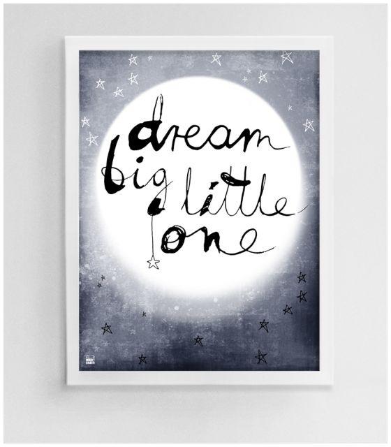 Plakat Do Pokoju Dziecka Ilustracja Dla Dzieci Księżyc Noc Obrazek Z Napisem Granatowy Gwiazdy Mojo Graffi