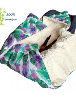 Kocyk do fotelika Bambusowy zimowy Ananasy& listki kremowe