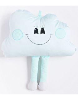 Poduszka  dekoracyjna chmurka z nóżkami personalizowana miętowa