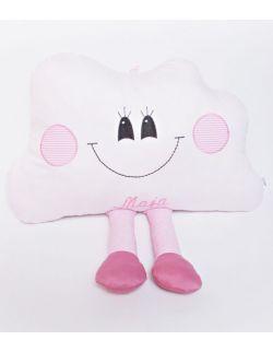 Poduszka  dekoracyjna chmurka z nóżkami personalizowana różowa