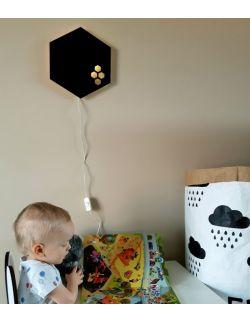Ścienna nocna lampka LED - Plaster miodu czarna