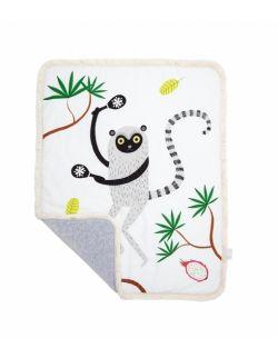 Dwustronny ciepły koc z frędzlami Lemur Leon M