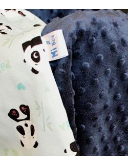 Kocyk do fotelika Bambusowy Panda&navy dots
