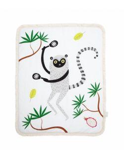 Dwustronny ciepły koc z frędzlami Lemur Leon L