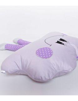 Poduszka dekoracyjna chmurka z nóżkami personalizowana fioletowa