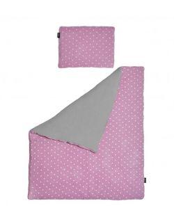 Pościel  MUŚLIN szary+różowy gwiazdki 100x135 cm