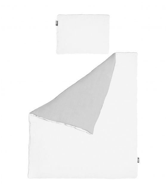 Pościel MUŚLIN gołębi +biały 100x135 cm