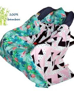 Kocyk do fotelika Bambusowy Flamingi& Trójkąty