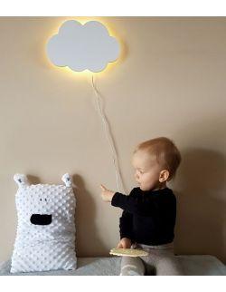 Drewniana lampka nocna - chmurka TOSIA biała