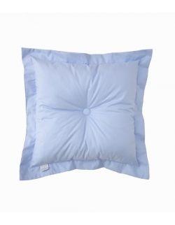 Poduszka na łóżko pikowana guzikami z falbankami błękitna