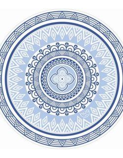 Okrągły ręcznik plażowy Azulejos