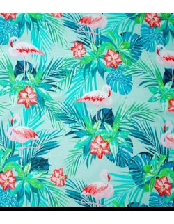 Otulacz bambusowy + podusia Flamingi 75x100cm