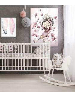 piwonie, różowy plakat dla dziewczynki, kwiaty, różowy obrazek dla dziewczynki