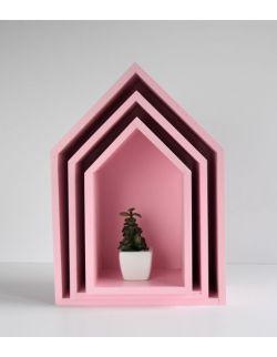 Półki domki - różowe trio