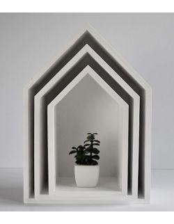 Półki domki - białe trio