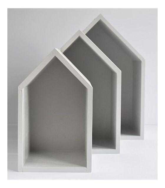 Półki domki - szare trio