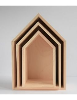 Półki domki - naturalne trio
