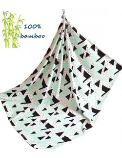 Otulacz bambusowy trójkąty miętowe 75x100cm