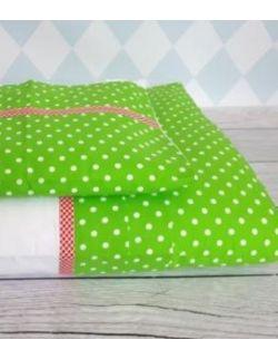 Pościel z zakładką z zielonej bawełny w białe kropeczki