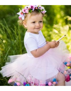 Sukienka z tiulem i pomponikami Fluffy Pink