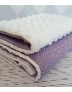 Kocyk minky fioletowy w białe kropeczki