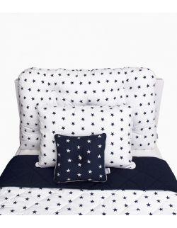 Poduszka na łóżko granatowo-biała w gwiazdki