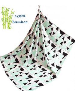 Otulacz Bambusowy 140x150cm Trójkąty miętowe