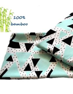 Otulacz bambusowy 120x120cm + podusia Trójkąty miętowe