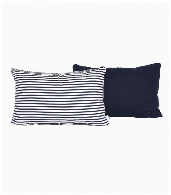 Poduszka na łóżko w ciemne granatowe paski